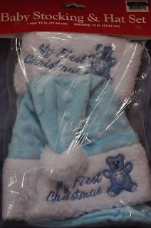 IN PACKAGE BOYS BABY CHRISTMAS STOCKING AND HAT SET INFANTS CLOTHES