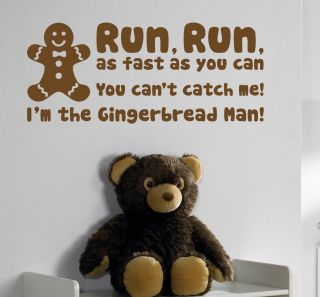 RUN RUN GINGERBREAD MAN   Nursery rhyme wall sticker quote   baby