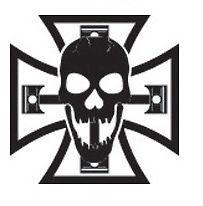 SKULL MALTESE IRON CROSS PISTON 8 VINYL DECALS WINDOW STICKERS