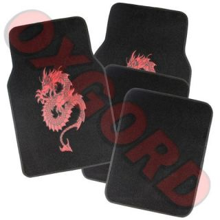 Red Oriental Dragon Snakes Black Carpet Auto Car Floor Mats Front Rear