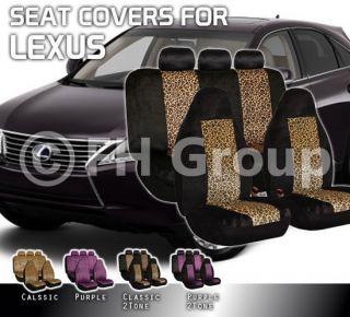 Car Seat Covers for Lexus Velour Leopard Print Full Set Airbag Safe