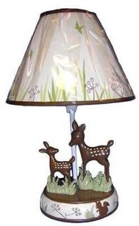 Forest Animals Neutral Boys/Girls Lamp with Brown Deer and Grass