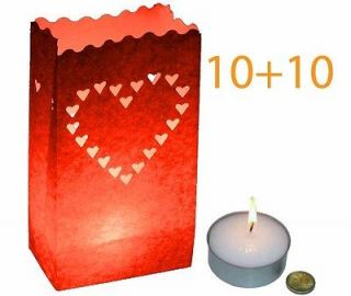 10+10 Red Love Hearts Paper Bag Lanterns + Giant Tea Light Candle