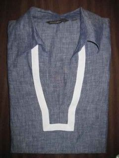 TOMMY BAHAMA mens blue white trim linen tunic LS casual shirt size M