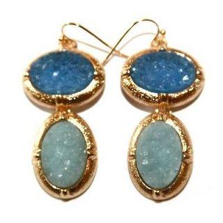 Baby BLUE JEAN LANA DEL REY Druzy Crystal Rock GOLD Earrings