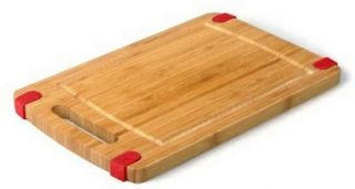 New 8 x 12 Natural Bamboo Wood Cutting Board With Handle & Non Slide