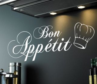 BON APPETIT (With chef hat) wall sticker quote   kitchen, cook, art