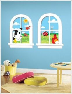 New Baby Nursery FARM ANIMALS WINDOWS WALL DECALS Boys Room Stickers