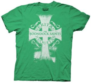 Boondock Saints T shirt Veritas Aequitas Cross Adult Irish Green Shirt