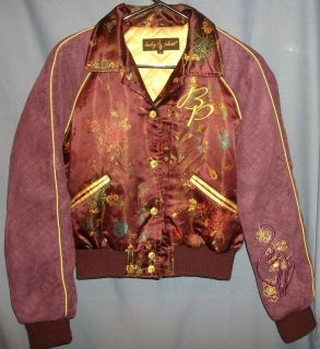 Baby Phat Plum Purple Signature Satin Sueded Zip Up Coat/Jacket S