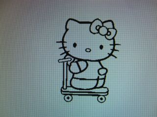 Hello Kitty riding scooter vinyl decal sticker available in 23