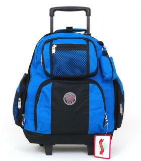 18 Wheeled School Backpack Rolling Book Bag Drop Handle Wheels Carry