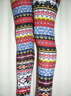 Sexy Colorful RED & BLUE Soft Nordic SNOWFLAKE Knit Sweater LEGGINGS
