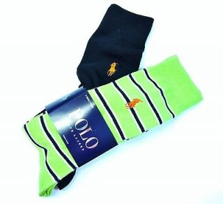 PACK RALPH LAUREN POLO MENS DRESS SOCKS 2 PAIR  LIME GREEN & DARK