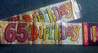 65th BIRTHDAY BANNERS   PACK OF 3   AGE 65 banners
