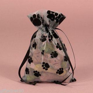 Flocked Velvet Paw Print Sheer Organza Bags