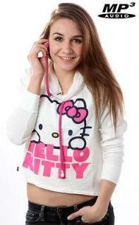 Hello Kitty White Pink Pullover Hoodie Buddie  Earbuds Sweatshirt