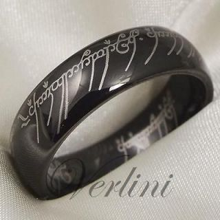 Lord Ring Mens Wedding Band LOTR Rings Silver Design Size 6 13