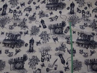 White & Blue Paris Fabric 100% Cotton Fabric   By the Metre Cottage