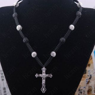 cross pendant 46x30x4mm white black Crystal pave ball bead necklace