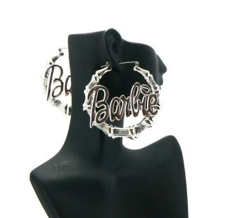 NEW NICKI MINAJ STYLE BARBIE BAMBOO HOOP HIGH QUALITY EARRING   ME1024
