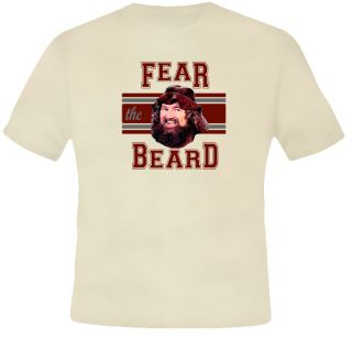 Fear The Beard Hillbilly Jim Wrestling 80s Tan T Shirt