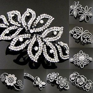 Item , 1pc rhinestone crystal flower hair barrette clip