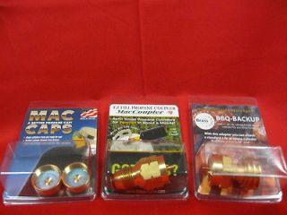 MacCoupler and BBQ Grill Backup Propane Tank Refill Adaptors Combo