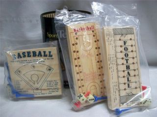 Baseball, Basketball, Football Wooden Games in Collectible Tin