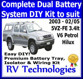 TOYOTA HILUX DUAL BATTERY SYSTEM KIT INCL TRAY & WIRING 3.4 LT V6