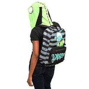 Invader Zim Gir Hooded Striped Doom Backpack Hoodie Ears Robot