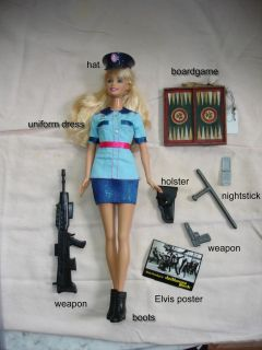OOAK set uniformed Police Officer Barbie doll with holiday ornaments