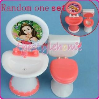 Newly listed Doll Furniture Dollhouse Bathroom Toilet Set For Barbie