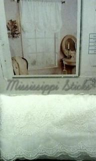 Shabby Chic White Embroidered Window Panel Balloon Shade Batiste Voile