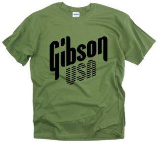 New Gibson USA rock band retro guitar bass Army Green t shirt