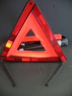 Safety Triangle for emergencies. Relective. Folds up. Storage case