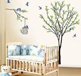 55x47 Birds Birdscage Tree Wall Stickers Shop Restaurant Christmas