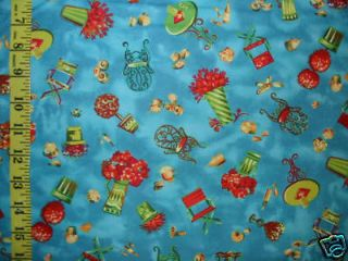 Northcott Sidewalks of Paris Cafe Toss Blue Fabric BTY