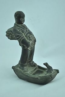 pure copper sculpture boy pee carvings bath writing brush washer