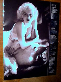 JEAN HARLOW BOMBSHELL POLAR BEAR SKIN RUG MAGAZINE ADVERTISEMENT PRINT