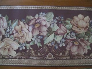 10 feet Metallic Flowers Wine Color Wallpaper Border