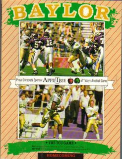 1991 BAYLOR VS TCU FOOTBALL PROGRAM EXCELLENT