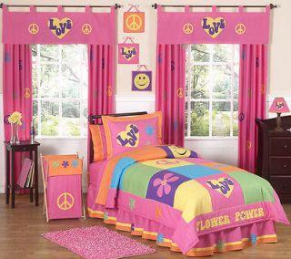 PINK ORANGE PEACE SIGN GIRLS KIDS TEEN FULL QUEEN SIZED BEDDING SET