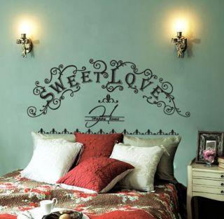 SWEET LOVE Headboard Wall Decor Sticker Decal Bed Frame