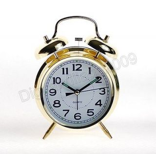 Old Style Battery Powered Quartz Alarm Clock   Gold Colour   Large