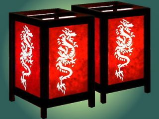 TWO  RED DRAGON (Asian oriental bedside) TABLE LAMPS  REAL plugs NO