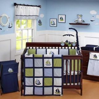 Sailboat Blue and Green Baby Boy Infant 6pc Nursery Crib Bedding Set