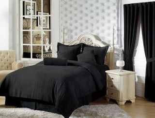 7pc Solid Black Micro Suede Comforter Set Bed in a Bag Full