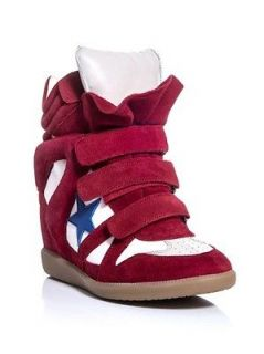 NIB ISABEL MARANT Red Bayley star suede/leather wedge sneakers Sz 39