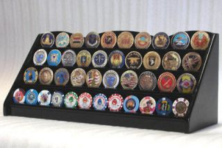 40 Challenge Coin 4 Row Chip Display Case Holder Rack